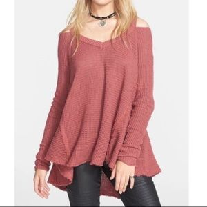 Free People V-Neck Cold Shoulder Sweater Tunic Top